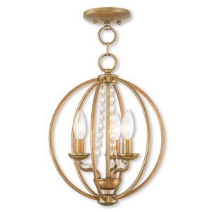 Arabella Antique Gold Leaf 12-Inch Three-Light Convertible Pendant Ceiling Mount