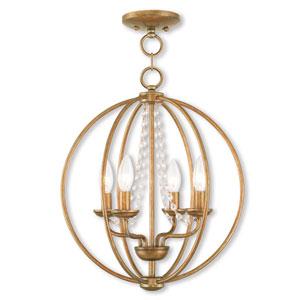 Arabella Antique Gold Leaf 15-Inch Four-Light Convertible Pendant Ceiling Mount