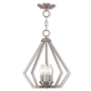 Prism Brushed Nickel Three-Light Convertible Pendant Ceiling Mount
