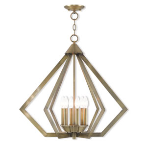 Prism Antique Brass 26-Inch Six-Light Chandelier