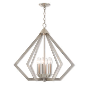 Prism Brushed Nickel 26-Inch Six-Light Chandelier