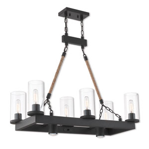 Metuchen Bronze Eight-Light Linear Pendant