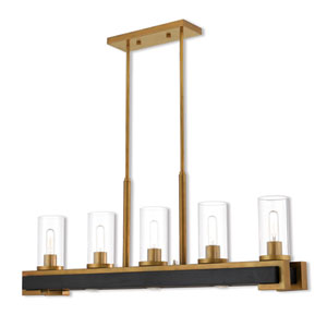 Buttonwood Aged Gold  Eight-Light Linear Pendant