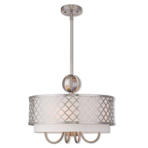 Arabesque Brushed Nickel 18-Inch Five-Light Pendant