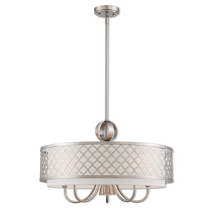 Arabesque Brushed Nickel 24-Inch Six-Light Pendant