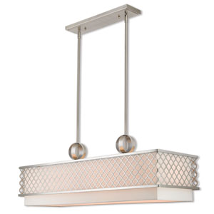 Arabesque Brushed Nickel -Inch Nine-Light Linear Pendant