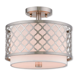 Arabesque Brushed Nickel 12-Inch Two-Light Ceiling Mount