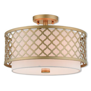 Arabesque Soft Gold 15-Inch Three-Light Ceiling Mount