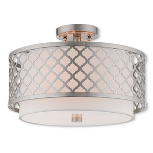 Arabesque Brushed Nickel 15-Inch Three-Light Ceiling Mount