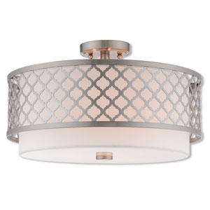 Arabesque Brushed Nickel 18-Inch Three-Light Ceiling Mount