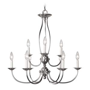 Home Basics II Nine-Light Brushed Nickel Chandelier