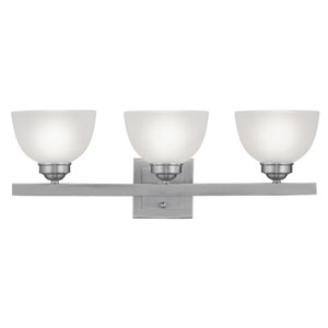 Somerset Brushed Nickel Three-Light 25-Inch Bath Fixture with Satin Glass