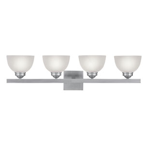 Somerset Brushed Nickel Four-Light 34-Inch Bath Fixture with Satin Glass