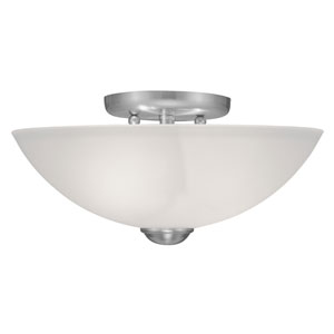 Somerset Brushed Nickel Two-Light 6-Inch Semi Flush Mount with Satin Glass