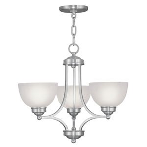 Somerset Brushed Nickel Three-Light 18-Inch Chandelier with Satin Glass