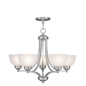 Somerset Brushed Nickel Five-Light 20-Inch Chandelier with Satin Glass