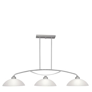 Somerset Brushed Nickel Three-Light 13-Inch Island Pendant with Satin Glass