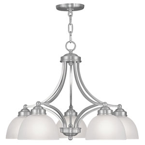Somerset Brushed Nickel Five-Light 18-Inch Chandelier with Satin Glass