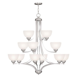 Somerset Brushed Nickel Twelve-Light 38-Inch Chandelier with Satin Glass