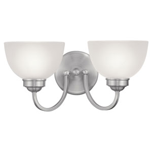 Somerset Brushed Nickel Two-Light Bath Fixture with Satin Glass