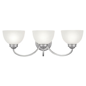 Somerset Brushed Nickel Three-Light Bath Fixture with Satin Glass