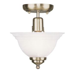 North Port Antique Brass One-Light Semi-Flush