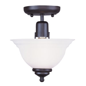 North Port Black One-Light Semi-Flush