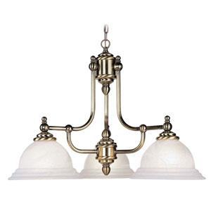 North Port Antique Brass Three-Light Chandelier