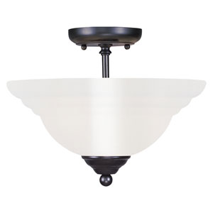 North Port Black Two-Light Semi-Flush