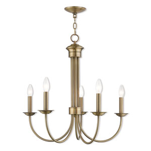Estate Antique Brass 25-Inch Five-Light Chandelier