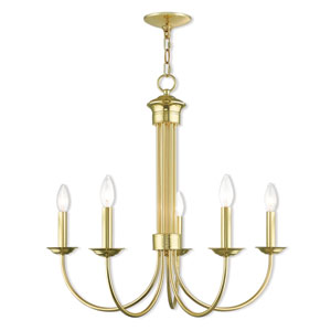 Estate Polished Brass 25-Inch Five-Light Chandelier