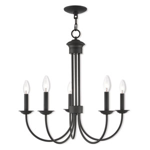 Estate Bronze 25-Inch Five-Light Chandelier