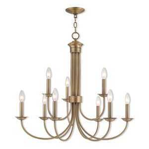 Estate Antique Brass 30-Inch Nine-Light Chandelier