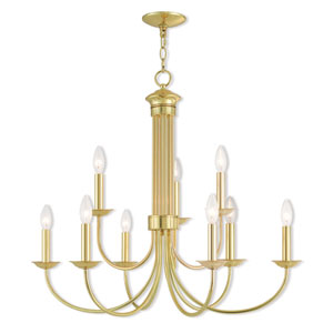 Estate Polished Brass 30-Inch Nine-Light Chandelier