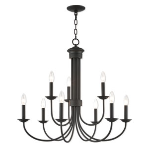 Estate Bronze 30-Inch Nine-Light Chandelier