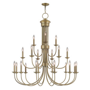 Estate Antique Brass 42-Inch Twenty-One Light Foyer Chandelier