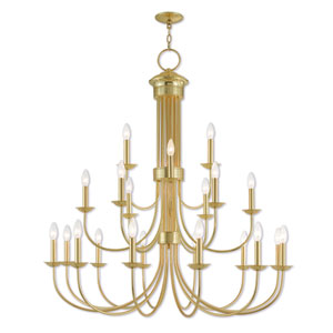 Estate Polished Brass 42-Inch Twenty-One Light Foyer Chandelier