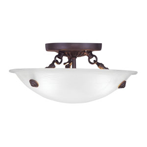 Home Basics Bronze Three-Light 12-Inch Semi Flush Mount with White Alabaster Glass