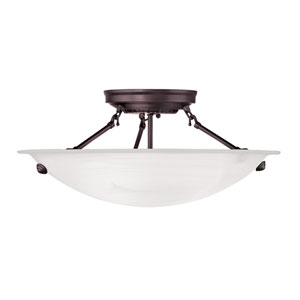 Home Basics Bronze Three-Light 16-Inch Semi Flush Mount with White Alabaster Glass