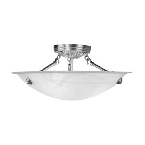 Brushed Nickel Medium Semi-Flush Ceiling Light