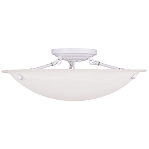Oasis White 8-Inch Three Light Ceiling Mount