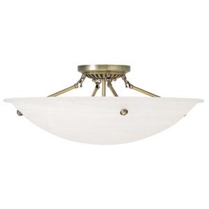 Oasis Antique Brass 24-Inch Four-Light Semi Flush Mount