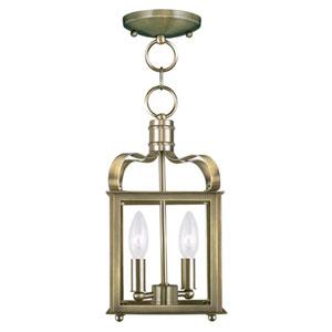 Garfield Antique Brass 7-Inch Two-Light Convertible Pendant