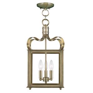 Garfield Antique Brass 10-Inch Three-Light Convertible Pendant