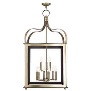 Garfield Antique Brass 22-Inch Nine-Light Lantern Pendant