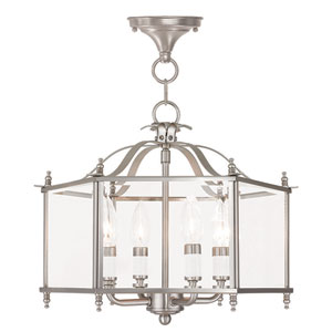 Livingston Brushed Nickel 15.5-Inch Four-Light Convertible Pendant with Clear Beveled Glass