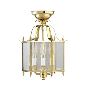 Home Basics Polished Brass Semi-Flush Mount/Chain Hang