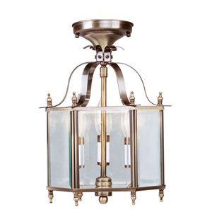 Home Basics Antique Brass Three-Light Convertible Semi-Flush