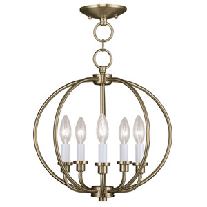 Milania Antique Brass Five Light Convertible Chain Hang and Ceiling Mount