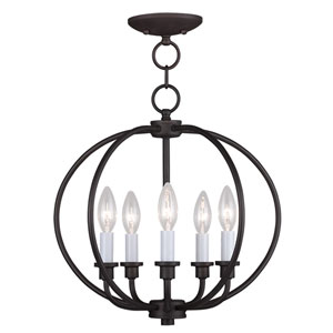 Milania Bronze Five Light Convertible Chain Hang and Ceiling Mount